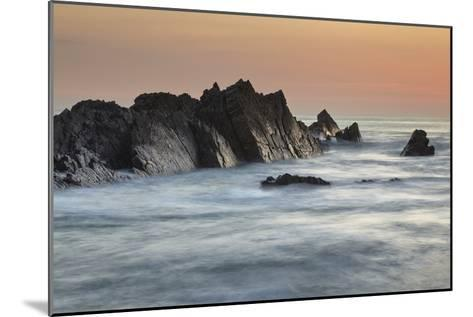 A Dusk View of Atlantic Coast Rocks, at Hartland Quay, Devon, England-Nigel Hicks-Mounted Photographic Print