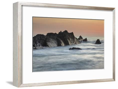 A Dusk View of Atlantic Coast Rocks, at Hartland Quay, Devon, England-Nigel Hicks-Framed Art Print