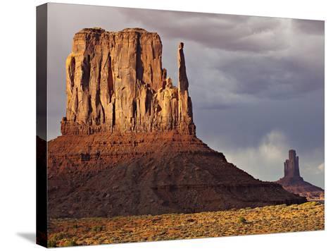 Summer Rain Clouds, Sunlit West Mitten and Big Indian Rock Formation-Derek Von Briesen-Stretched Canvas Print