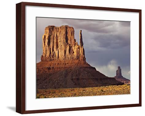 Summer Rain Clouds, Sunlit West Mitten and Big Indian Rock Formation-Derek Von Briesen-Framed Art Print