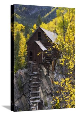 A Mill on a Rock Promontory Above the Crystal River-Robbie George-Stretched Canvas Print