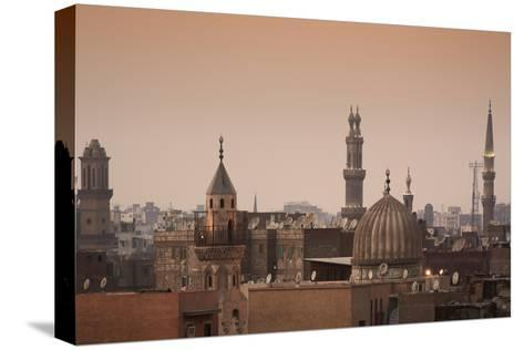 Minarets and Mosques of Cairo at Dusk-Alex Saberi-Stretched Canvas Print