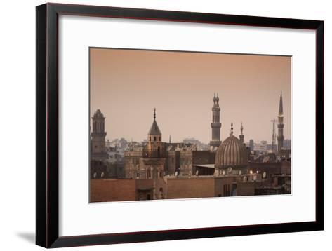 Minarets and Mosques of Cairo at Dusk-Alex Saberi-Framed Art Print