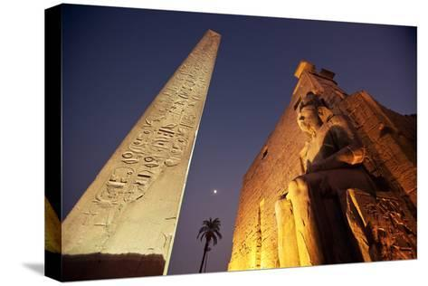 Ramses Statue and Obelisk at the Entrance to the Luxor Temple Complex-Alex Saberi-Stretched Canvas Print
