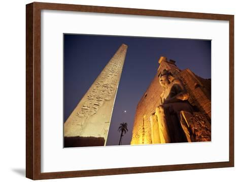 Ramses Statue and Obelisk at the Entrance to the Luxor Temple Complex-Alex Saberi-Framed Art Print