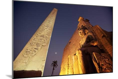 Ramses Statue and Obelisk at the Entrance to the Luxor Temple Complex-Alex Saberi-Mounted Photographic Print