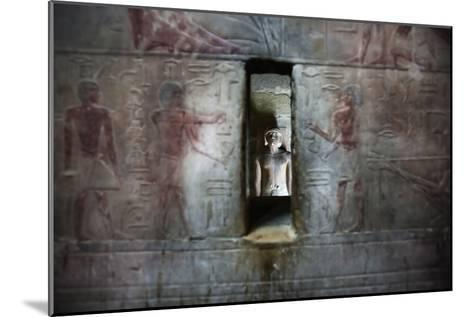 A Statue Through a Window in a Bas Relief Covered Wall in the Tomb of Ti-Alex Saberi-Mounted Photographic Print