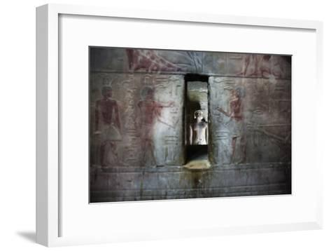A Statue Through a Window in a Bas Relief Covered Wall in the Tomb of Ti-Alex Saberi-Framed Art Print