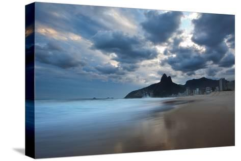Dois Irmaos Peaks in the Distance on Ipanema Beach at Sunset-Alex Saberi-Stretched Canvas Print