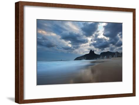 Dois Irmaos Peaks in the Distance on Ipanema Beach at Sunset-Alex Saberi-Framed Art Print