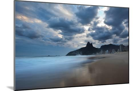 Dois Irmaos Peaks in the Distance on Ipanema Beach at Sunset-Alex Saberi-Mounted Photographic Print