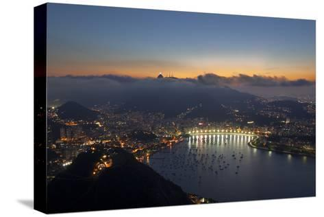 Wide Angle View of Rio De Janeiro at Sunset with Guanabara Bay-Alex Saberi-Stretched Canvas Print