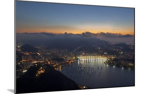 Wide Angle View of Rio De Janeiro at Sunset with Guanabara Bay-Alex Saberi-Mounted Photographic Print