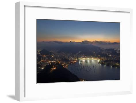 Wide Angle View of Rio De Janeiro at Sunset with Guanabara Bay-Alex Saberi-Framed Art Print
