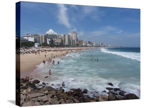 A View Over Leblon and Ipanema Beaches in Rio De Janeiro-Alex Saberi-Stretched Canvas Print