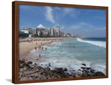 A View Over Leblon and Ipanema Beaches in Rio De Janeiro-Alex Saberi-Framed Art Print