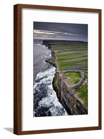 Atlantic Waves Crash on the Cliffs Beneath the Ancient Dun Aengus-Jim Ricardson-Framed Art Print
