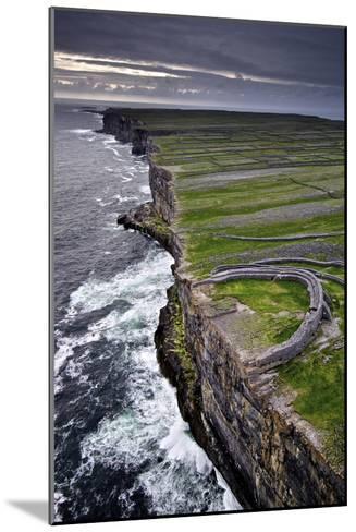 Atlantic Waves Crash on the Cliffs Beneath the Ancient Dun Aengus-Jim Ricardson-Mounted Photographic Print