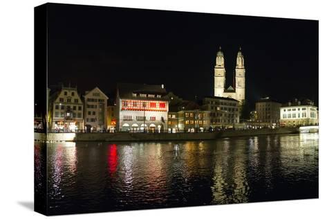 Old Town Zurich, Grossmunster Cathedral, and the Limmat River-Greg Dale-Stretched Canvas Print
