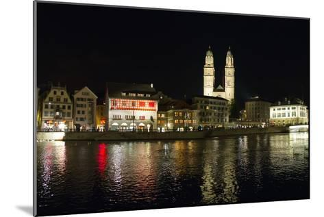 Old Town Zurich, Grossmunster Cathedral, and the Limmat River-Greg Dale-Mounted Photographic Print