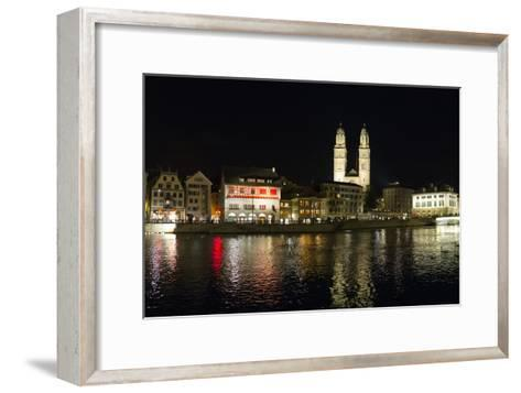 Old Town Zurich, Grossmunster Cathedral, and the Limmat River-Greg Dale-Framed Art Print