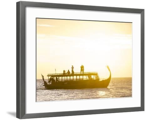 A Dhoni, a Traditional Boat, on a Sunset Cruise in the Maldives-Jad Davenport-Framed Art Print