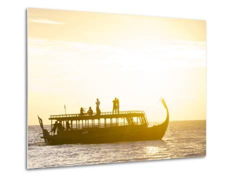 A Dhoni, a Traditional Boat, on a Sunset Cruise in the Maldives-Jad Davenport-Metal Print