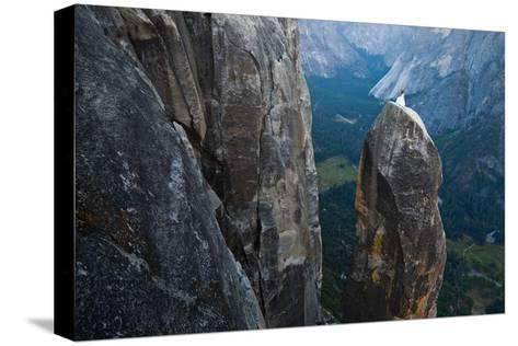 Posing on the Lost Arrow Spire Above Yosemite Village on Her Wedding Day-Ben Horton-Stretched Canvas Print