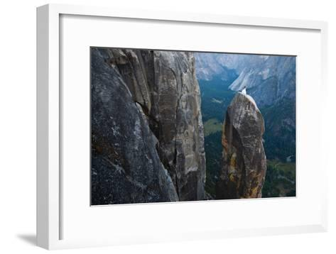 Posing on the Lost Arrow Spire Above Yosemite Village on Her Wedding Day-Ben Horton-Framed Art Print