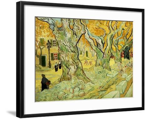 Roadworks At Saint-rémy, 1889-Vincent van Gogh-Framed Art Print