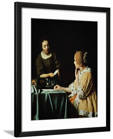 Lady With Her Maidservant Holding a Letter, 1666-Johannes Vermeer-Framed Art Print