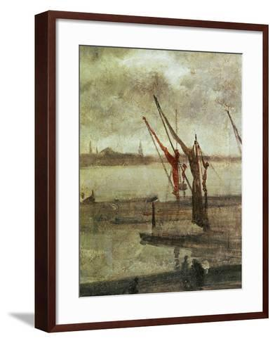 Grey And Silver: Chelsea Wharf, Ca. 1864-1868-James Abbott McNeill Whistler-Framed Art Print