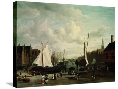 Harbour With Sailboats And Marketstalls-Jacob Ruysdael-Stretched Canvas Print