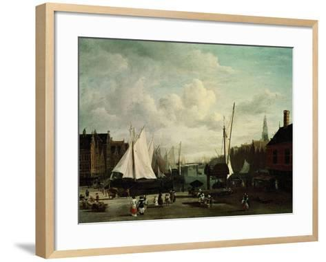 Harbour With Sailboats And Marketstalls-Jacob Ruysdael-Framed Art Print