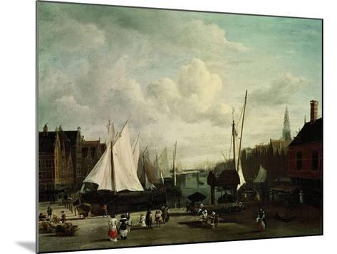 Harbour With Sailboats And Marketstalls-Jacob Ruysdael-Mounted Giclee Print