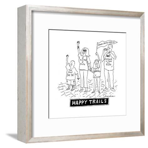 Happy Trails People say goodbye to the Pope - Cartoon-Danny Shanahan-Framed Art Print