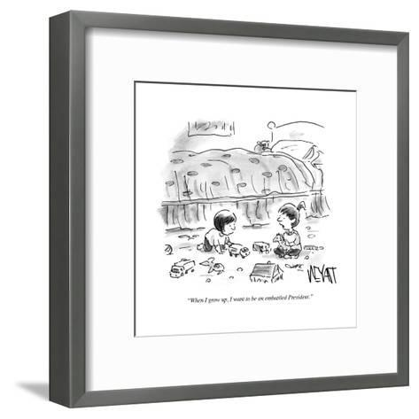 """""""When I grow up, I want to be an embattled President."""" - Cartoon-Christopher Weyant-Framed Art Print"""