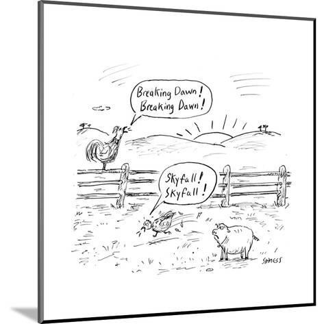 Farm animals shout the names of newly released movies. - Cartoon-David Sipress-Mounted Premium Giclee Print