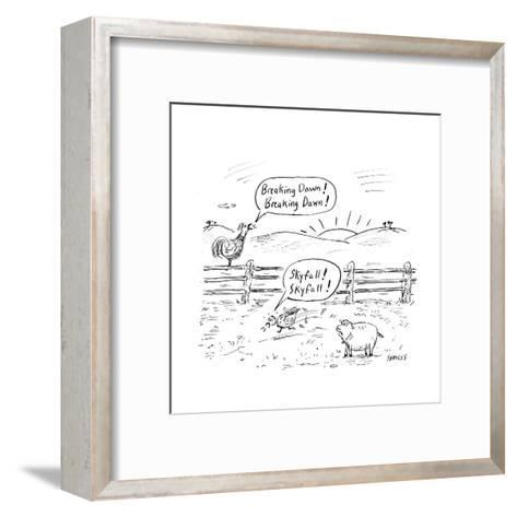 Farm animals shout the names of newly released movies. - Cartoon-David Sipress-Framed Art Print