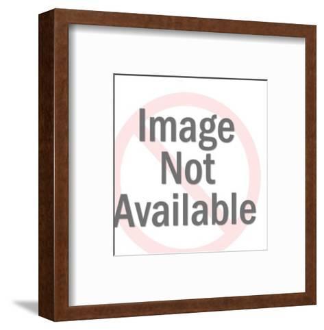 Caped Bulldog Flying over World-Pop Ink - CSA Images-Framed Art Print