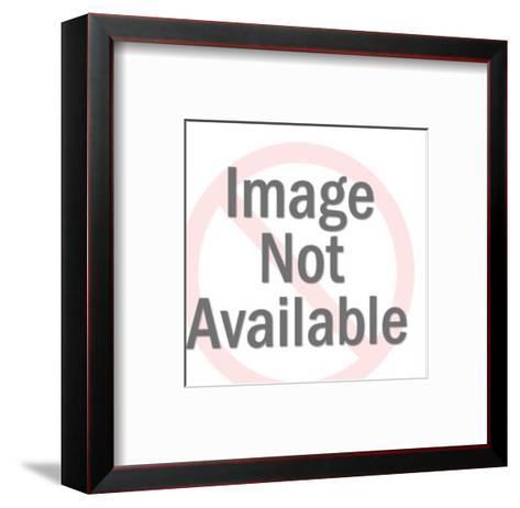 Smiling Woman Holding Open Refrigerator Door-Pop Ink - CSA Images-Framed Art Print