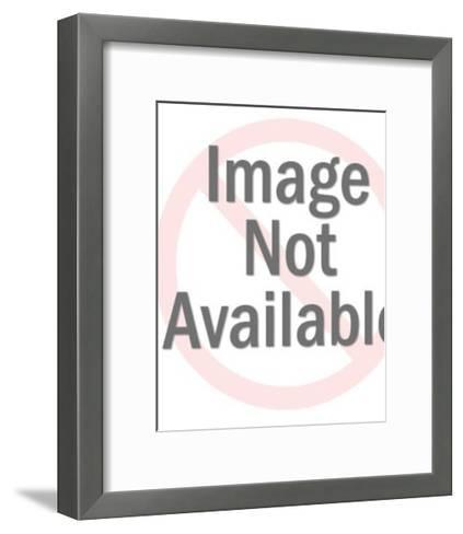 Woman Leaning on Television-Pop Ink - CSA Images-Framed Art Print