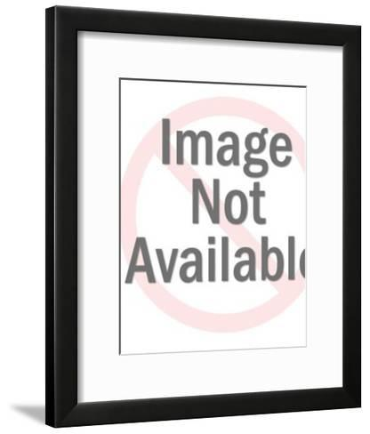 Smirking Dark Haired Man With Mustache-Pop Ink - CSA Images-Framed Art Print