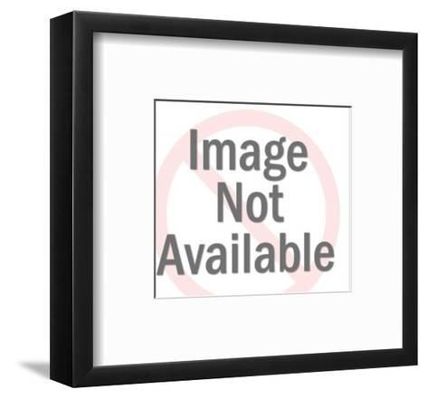 Dark Haired Woman Pointing-Pop Ink - CSA Images-Framed Art Print