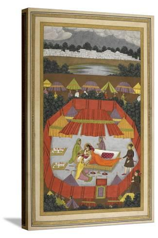 A Woman With Attendants Within an Encampment Of Tents.- Govardhan-Stretched Canvas Print