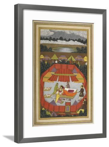 A Woman With Attendants Within an Encampment Of Tents.- Govardhan-Framed Art Print