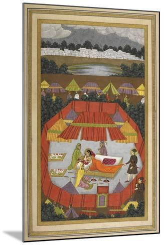 A Woman With Attendants Within an Encampment Of Tents.- Govardhan-Mounted Giclee Print