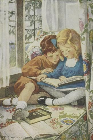 Young Boy and Girl-Jessie Willcox-Smith-Stretched Canvas Print