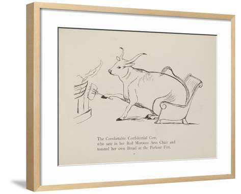 Cow in Armchair Toasting Bread On Open Fire From a Collection Of Poems and Songs by Edward Lear-Edward Lear-Framed Art Print
