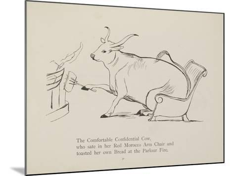 Cow in Armchair Toasting Bread On Open Fire From a Collection Of Poems and Songs by Edward Lear-Edward Lear-Mounted Giclee Print